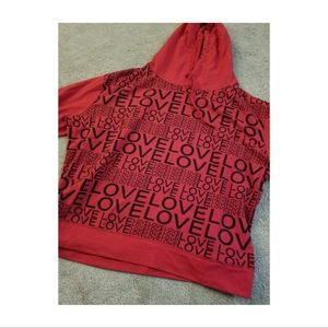 NY & Company Red and Black LOVE Hoodie Sweatshirt